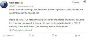 La hoja de ruta de Meizu se filtra del analista de la cadena de suministro